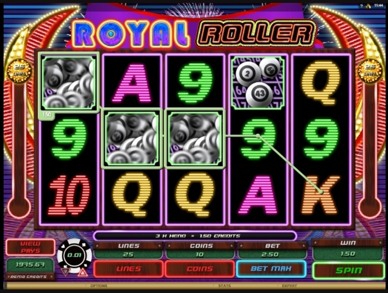 Win Money in Royal Roller Free Slot Game by Microgaming