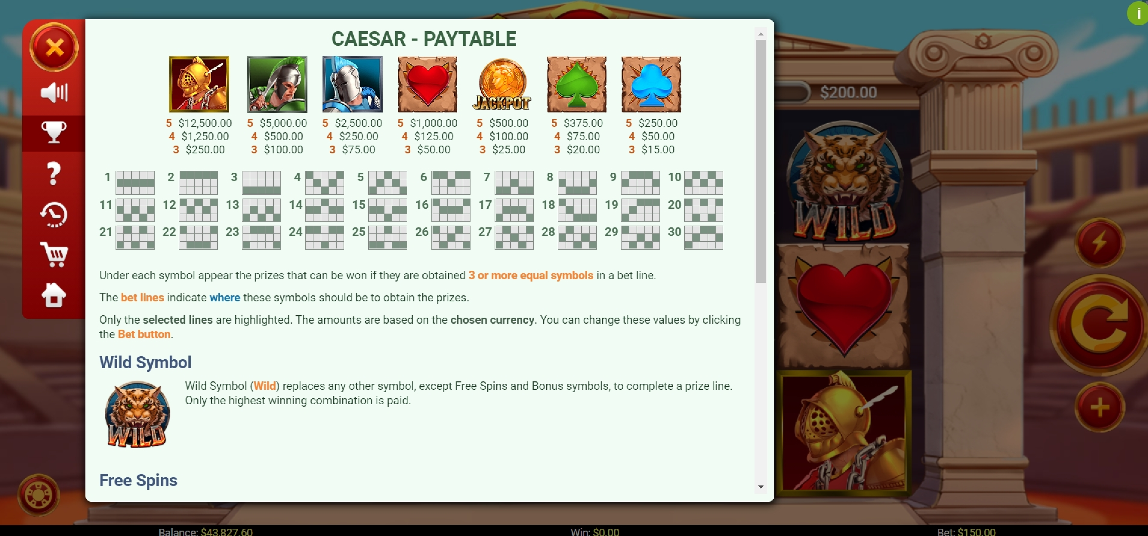 Info of Caesar (Mobilots) Slot Game by Mobilots