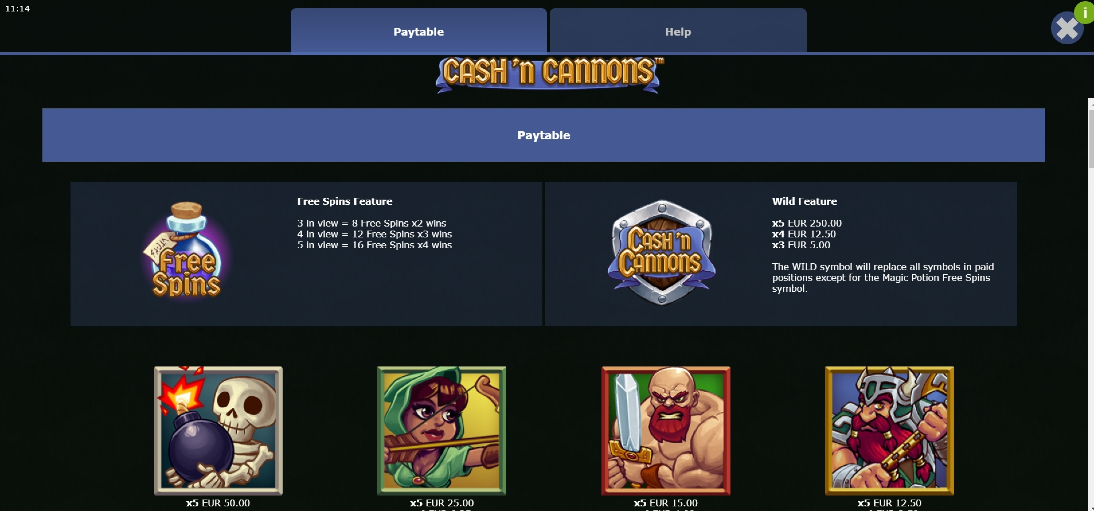 Info of Cash 'n Cannons Slot Game by Mutuel Play