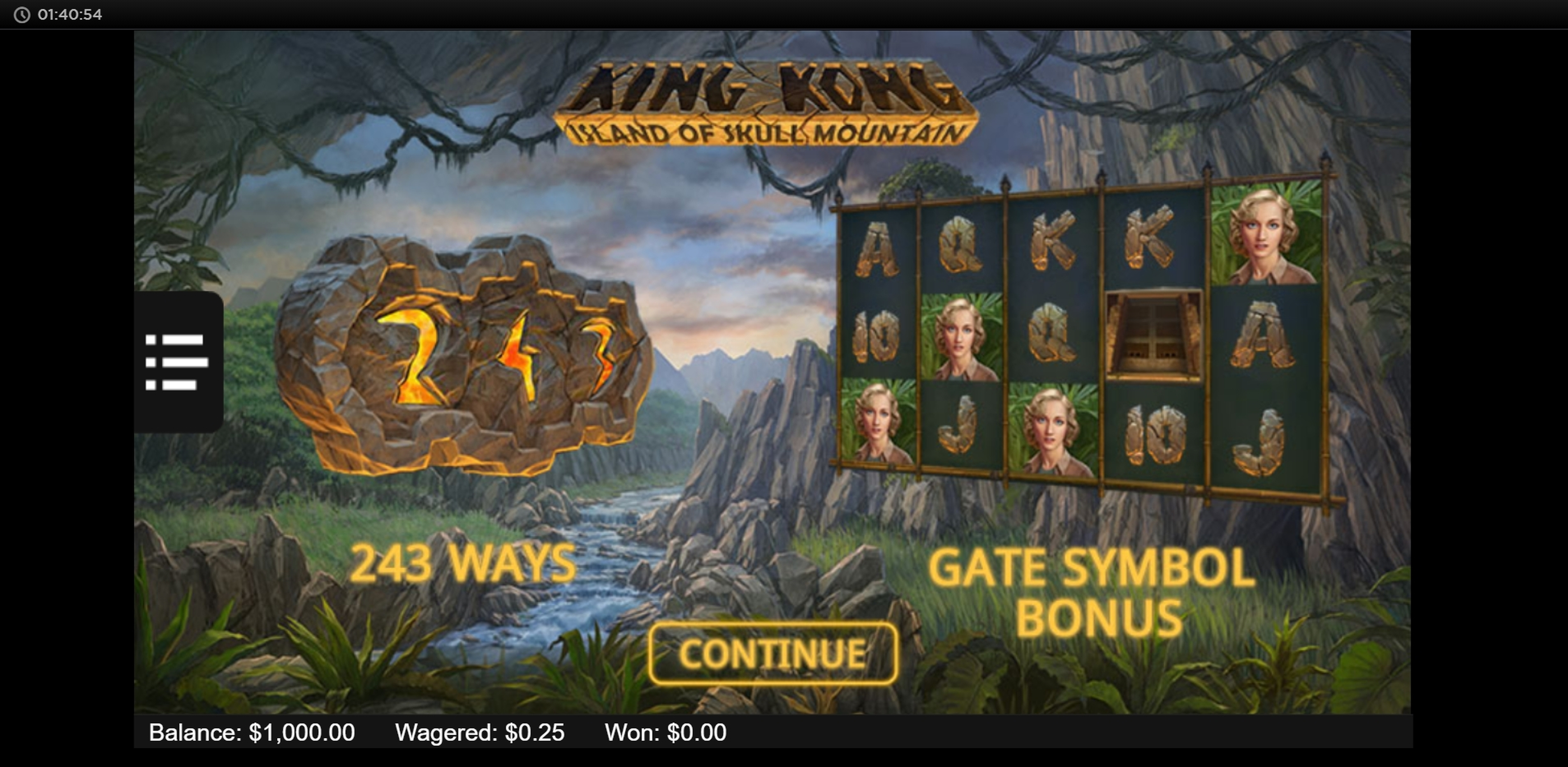 Play King Kong: Island of Skull Mountain Free Casino Slot Game by NYX Gaming Group