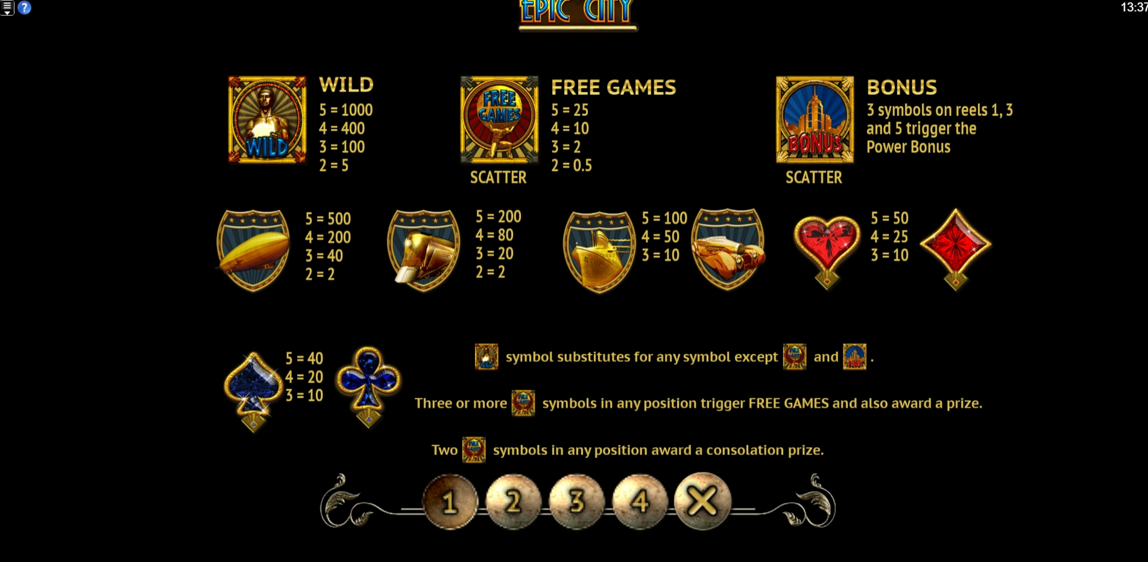 Info of Epic City Slot Game by Old Skool Studios