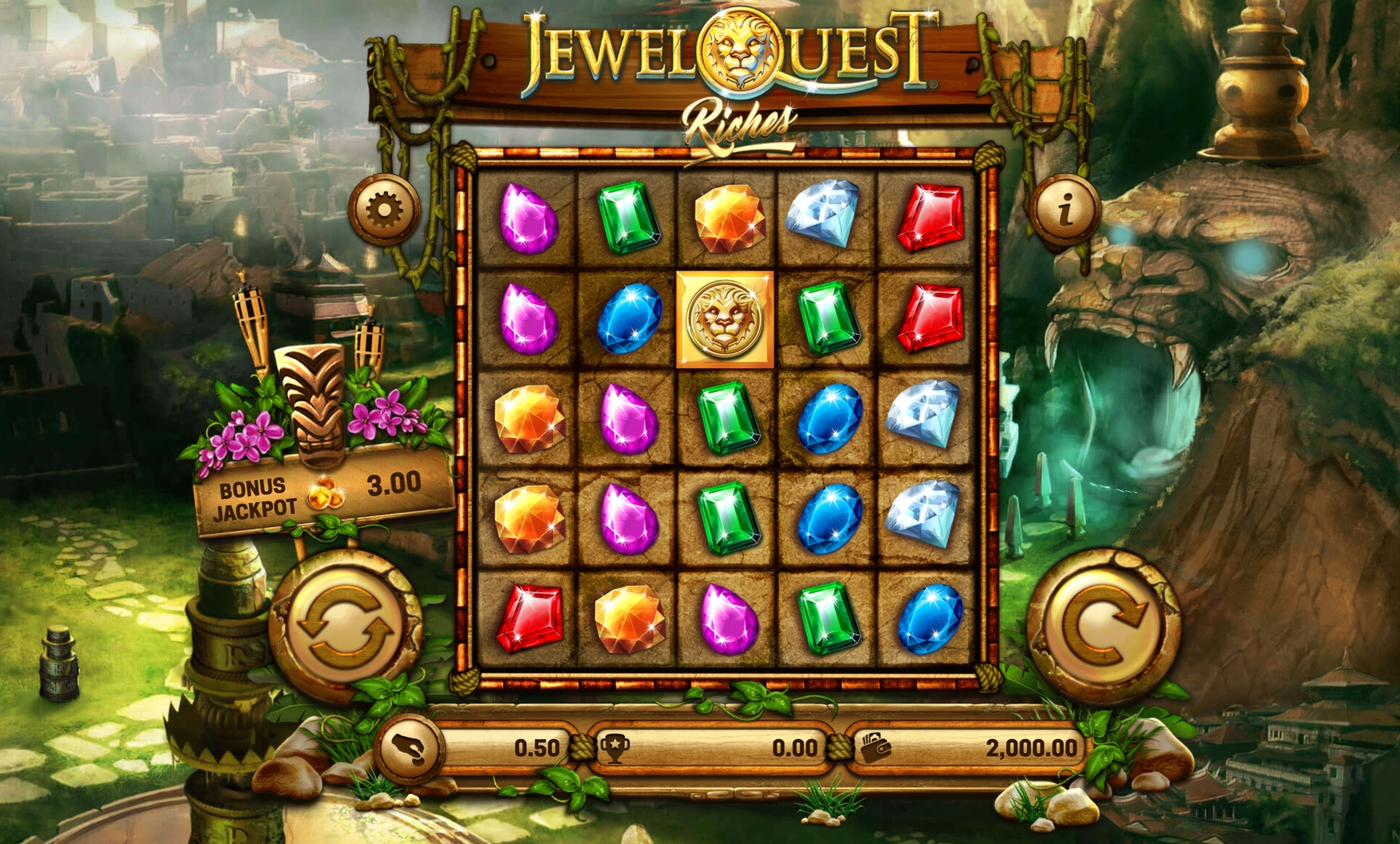 Reels in Jewel Quest Riches Slot Game by Old Skool Studios