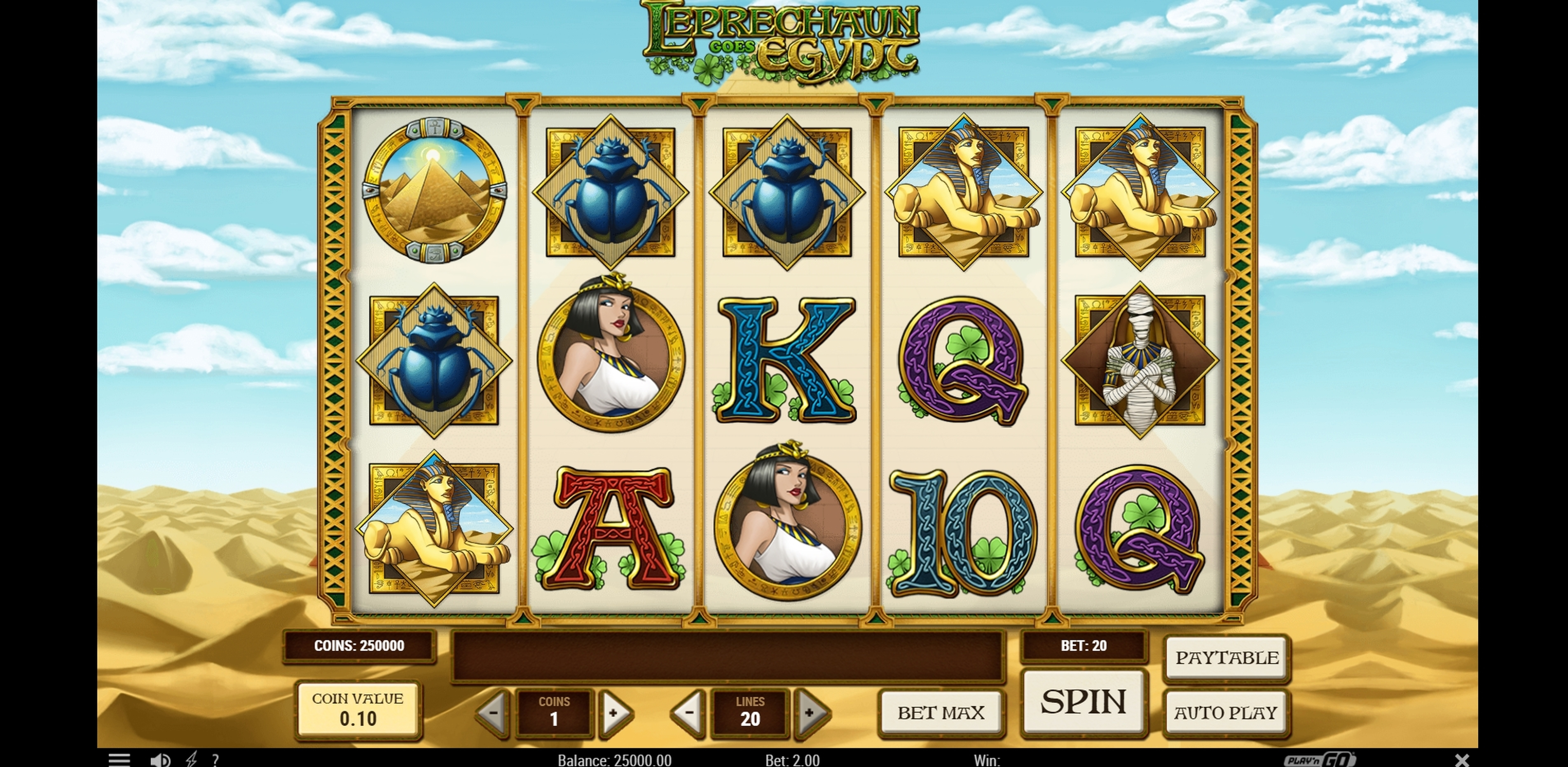 Reels in Leprechaun goes Egypt Slot Game by Playn GO