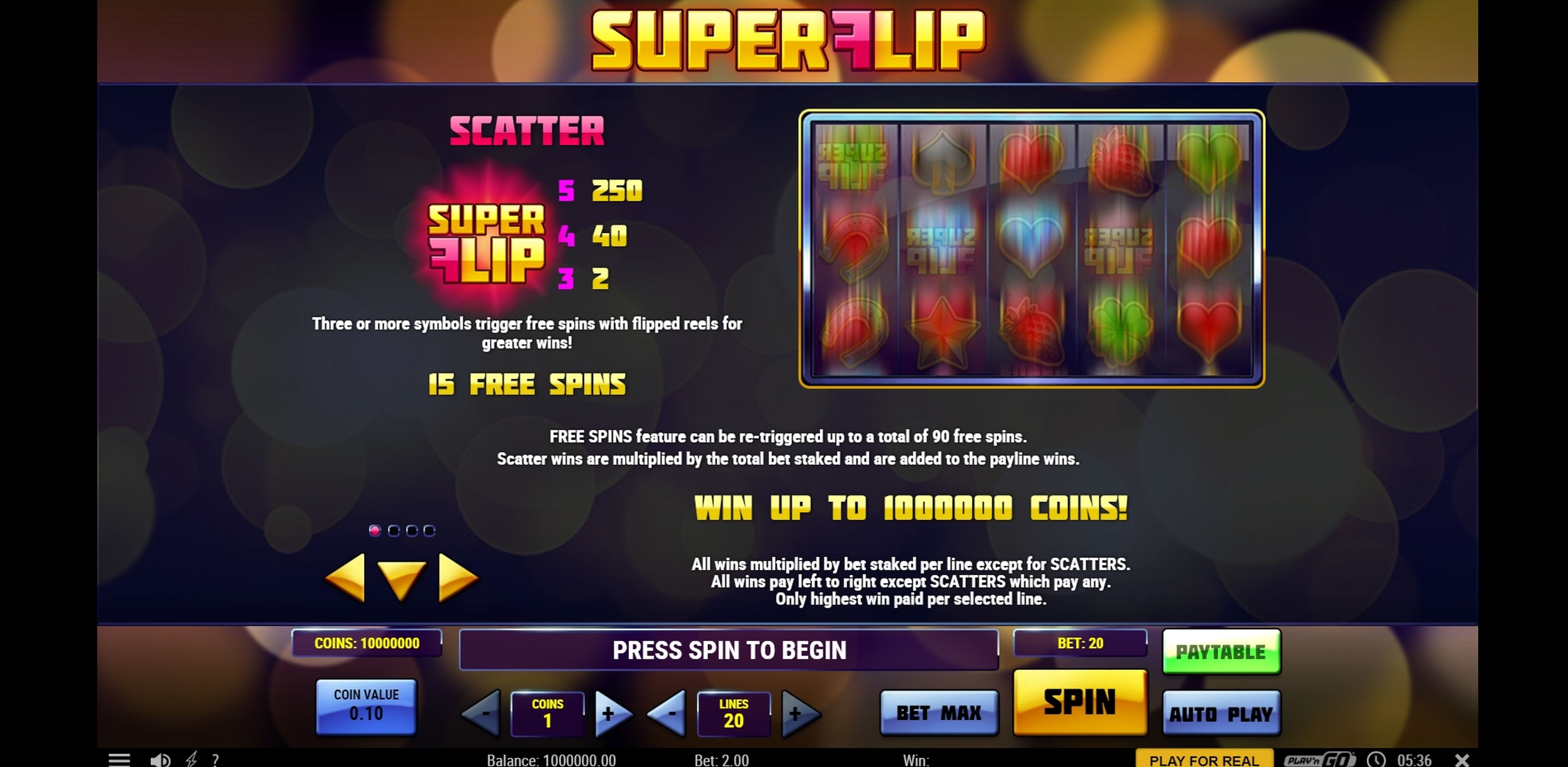 Info of Super Flip Slot Game by Playn GO