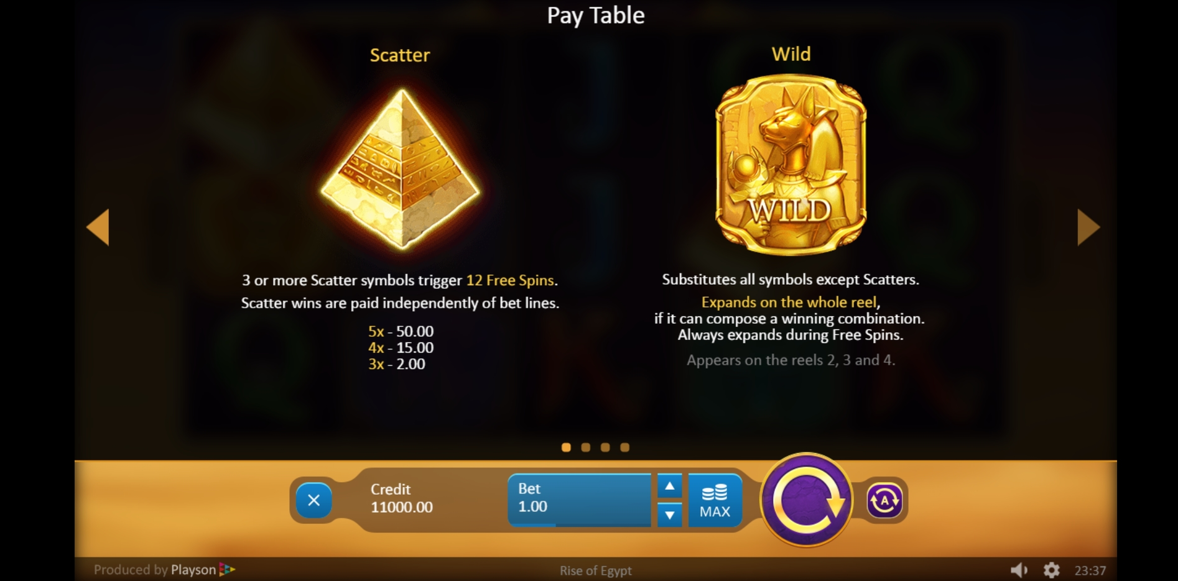 Info of Rise of Egypt Slot Game by Playson