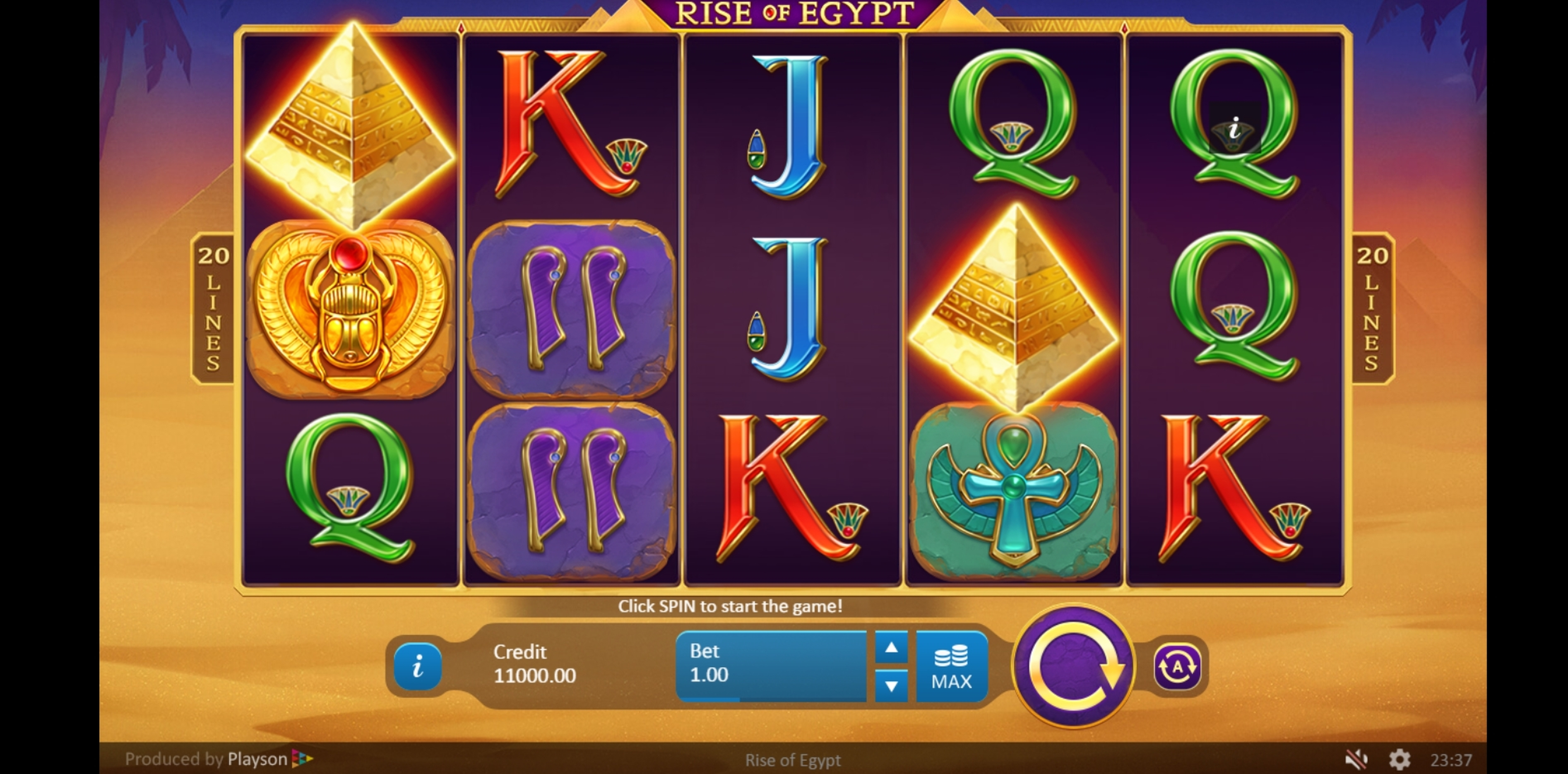 Reels in Rise of Egypt Slot Game by Playson