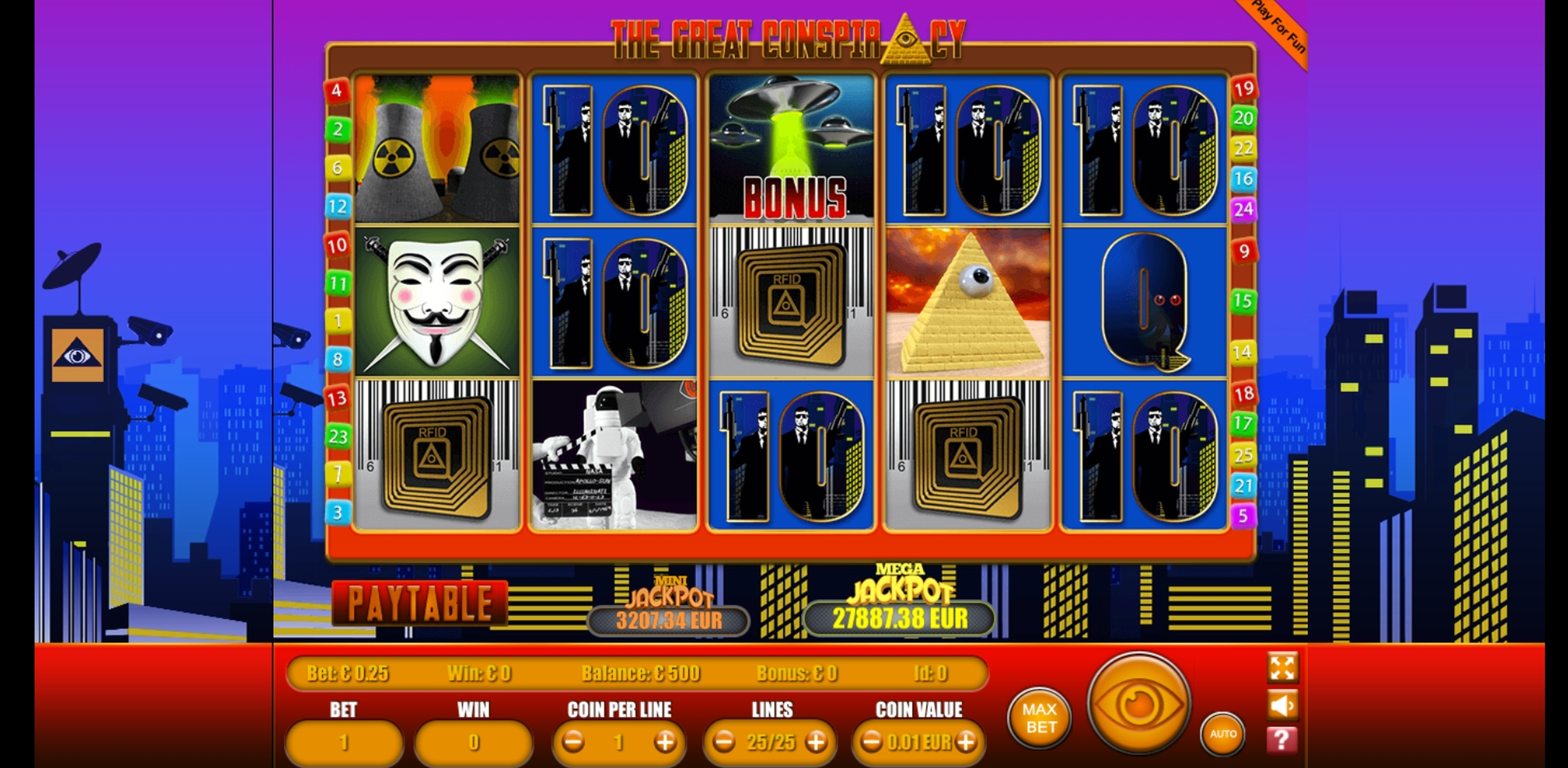 Reels in The Great Conspiracy Slot Game by Portomaso Gaming
