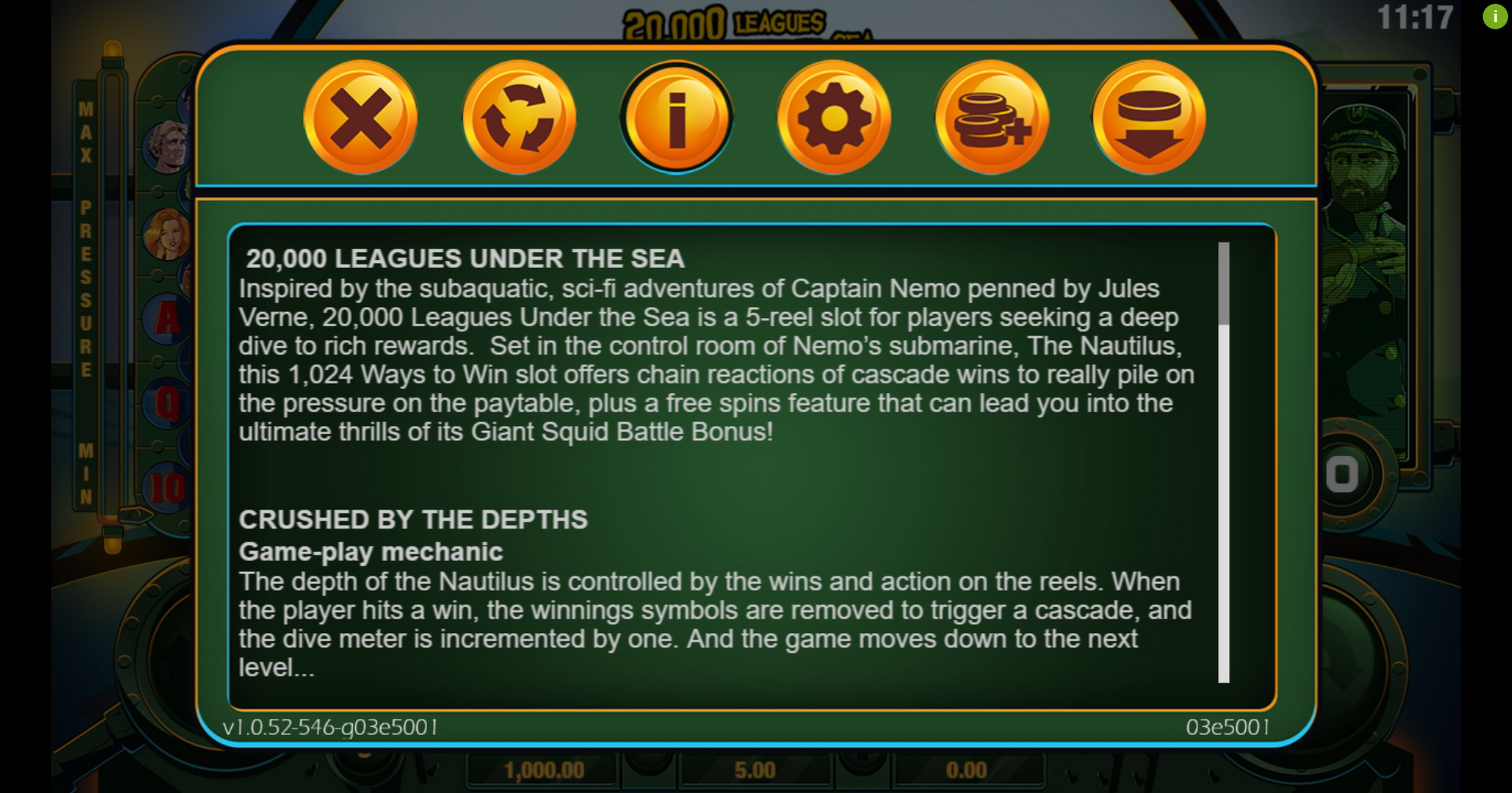Info of 20000 Leagues Under The Sea Slot Game by Probability Jones