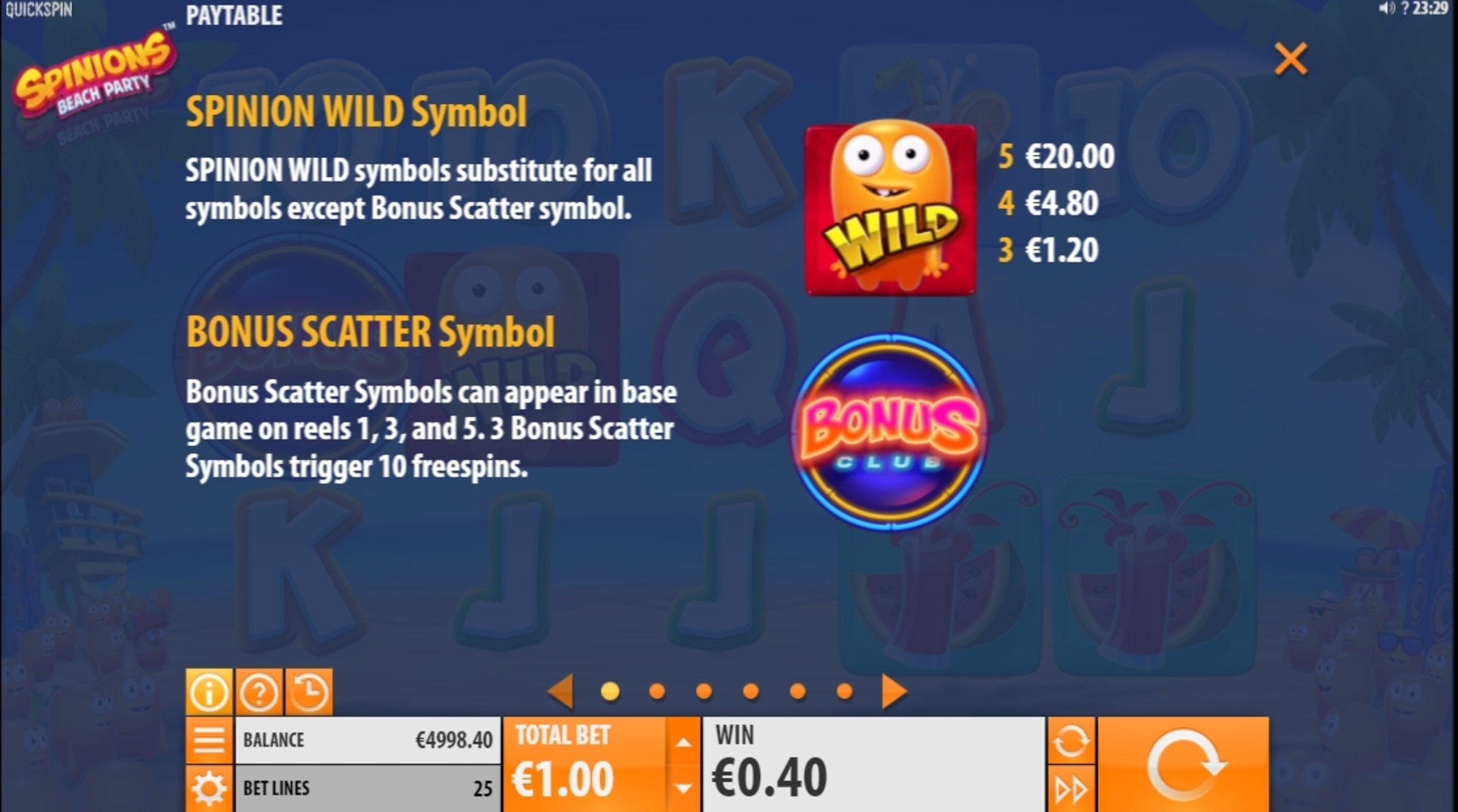 Info of Spinions Slot Game by Quickspin