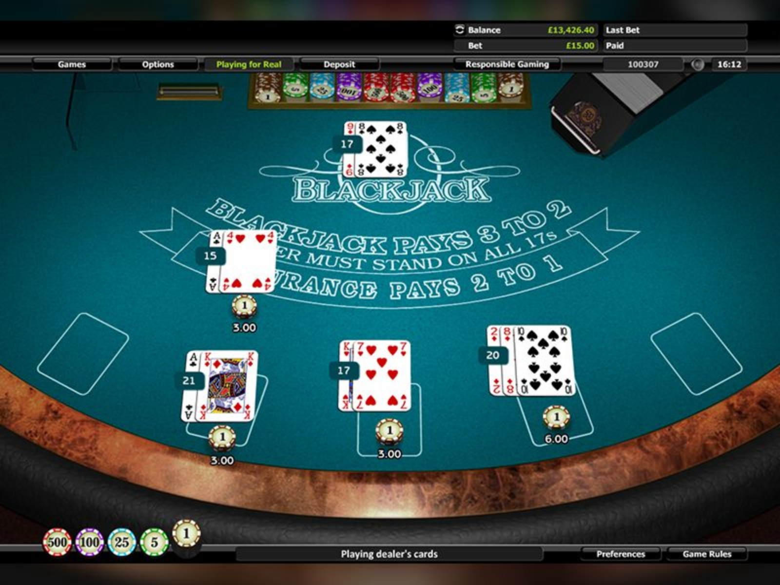 The Blackjack 5 Hands Online Slot Demo Game by Realistic Games