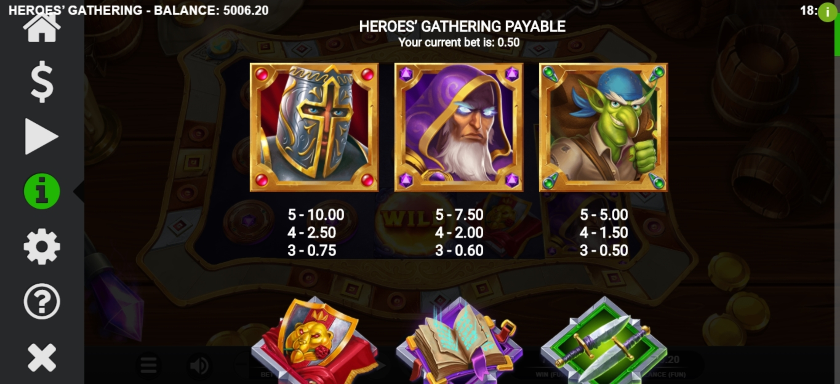 Info of Heroes Gathering Slot Game by Relax Gaming