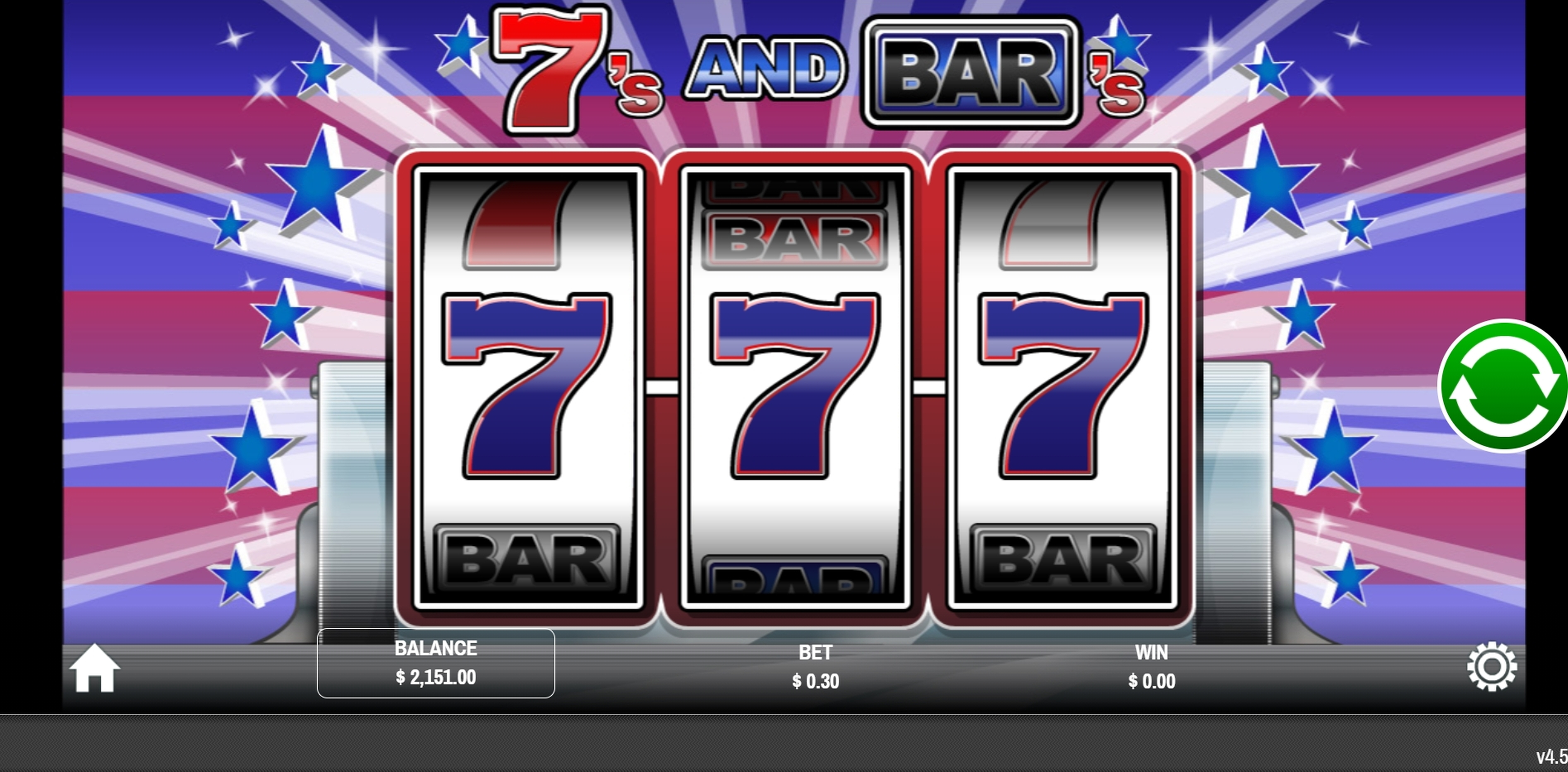 Reels in Sevens and Bars Slot Game by Rival
