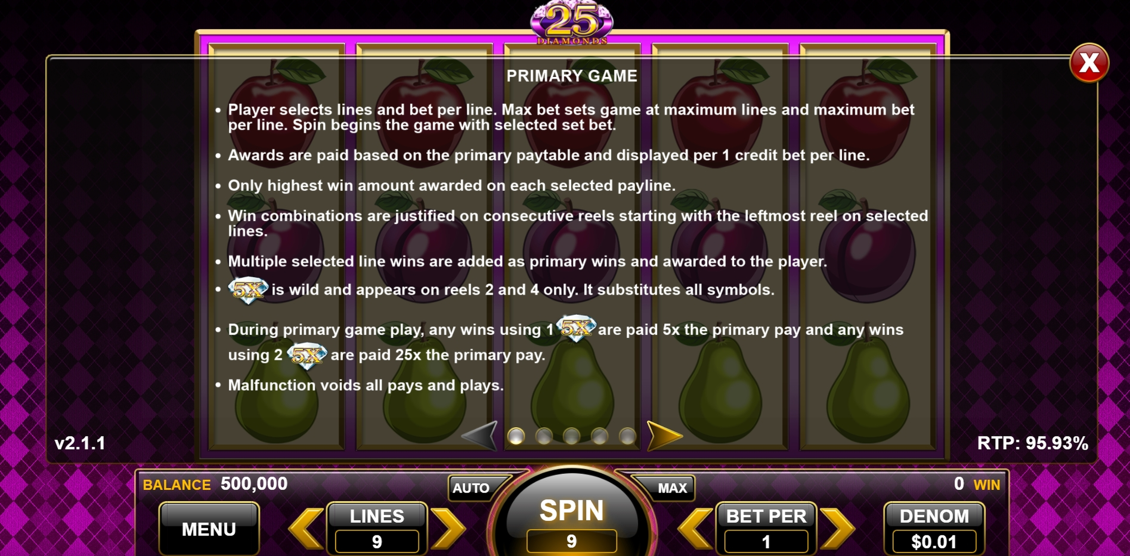 Info of 25 Diamonds Slot Game by Spin Games