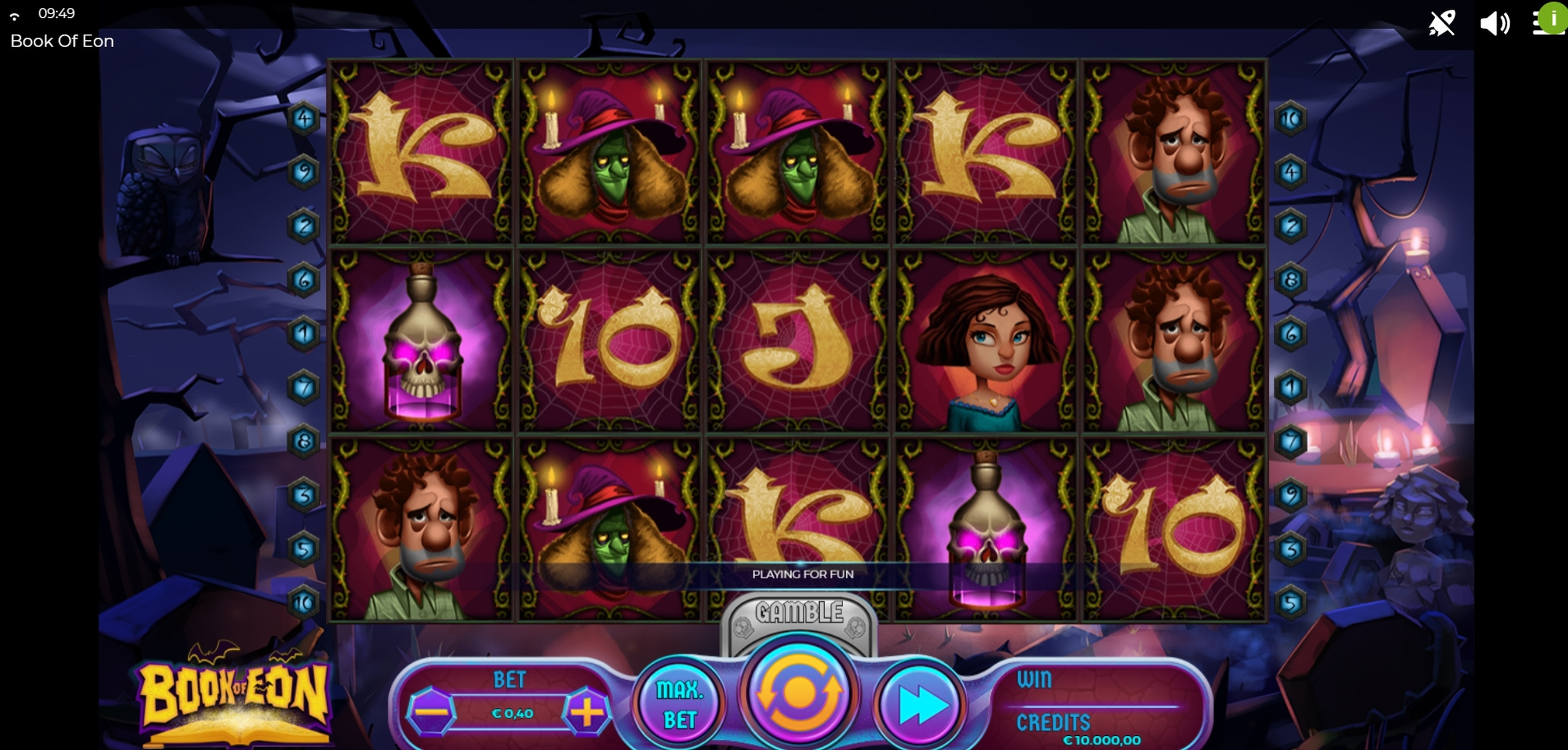 Reels in Book of Eon Slot Game by Spinmatic