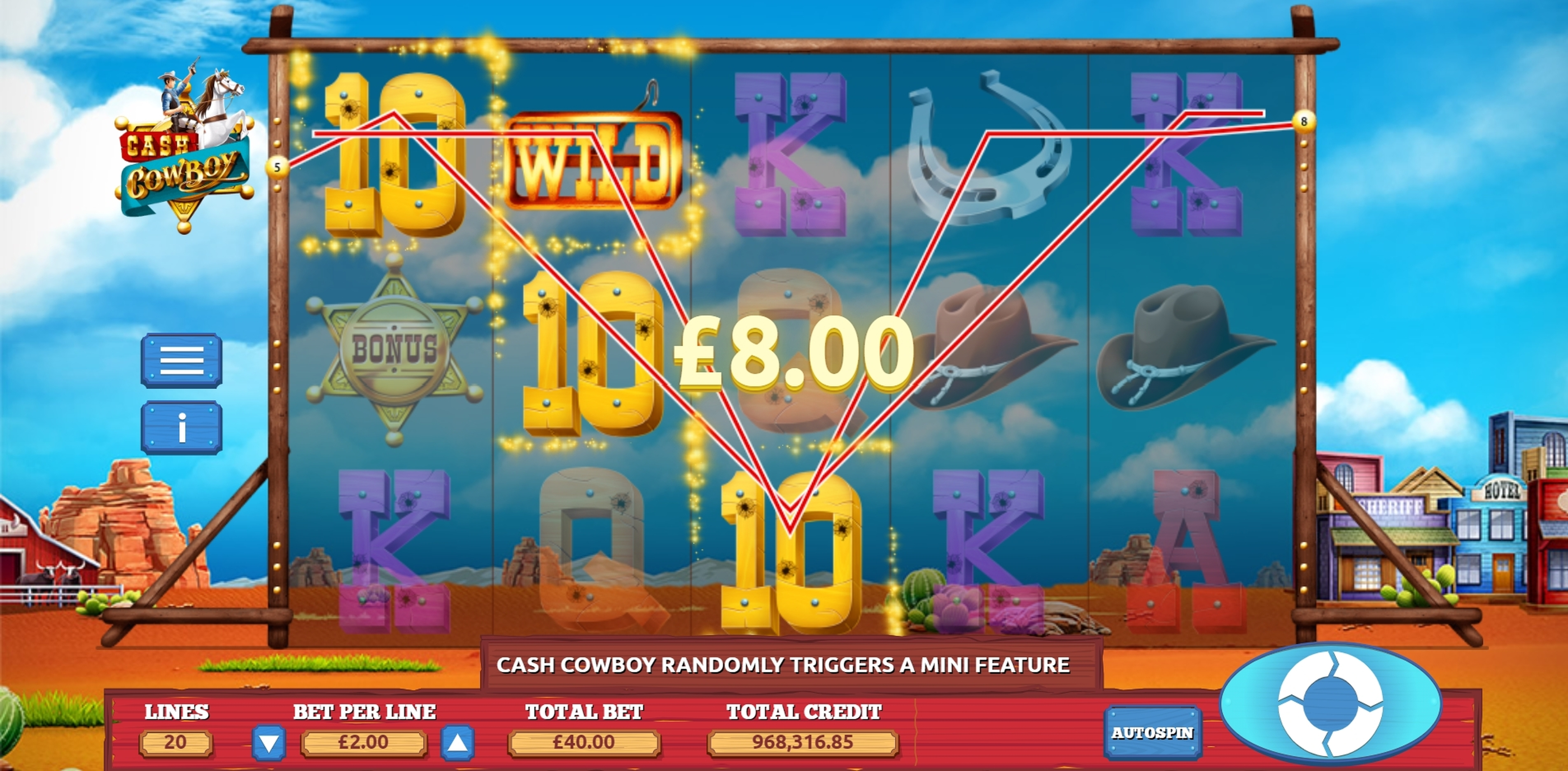 Win Money in Cash Cowboys Free Slot Game by The Games Company