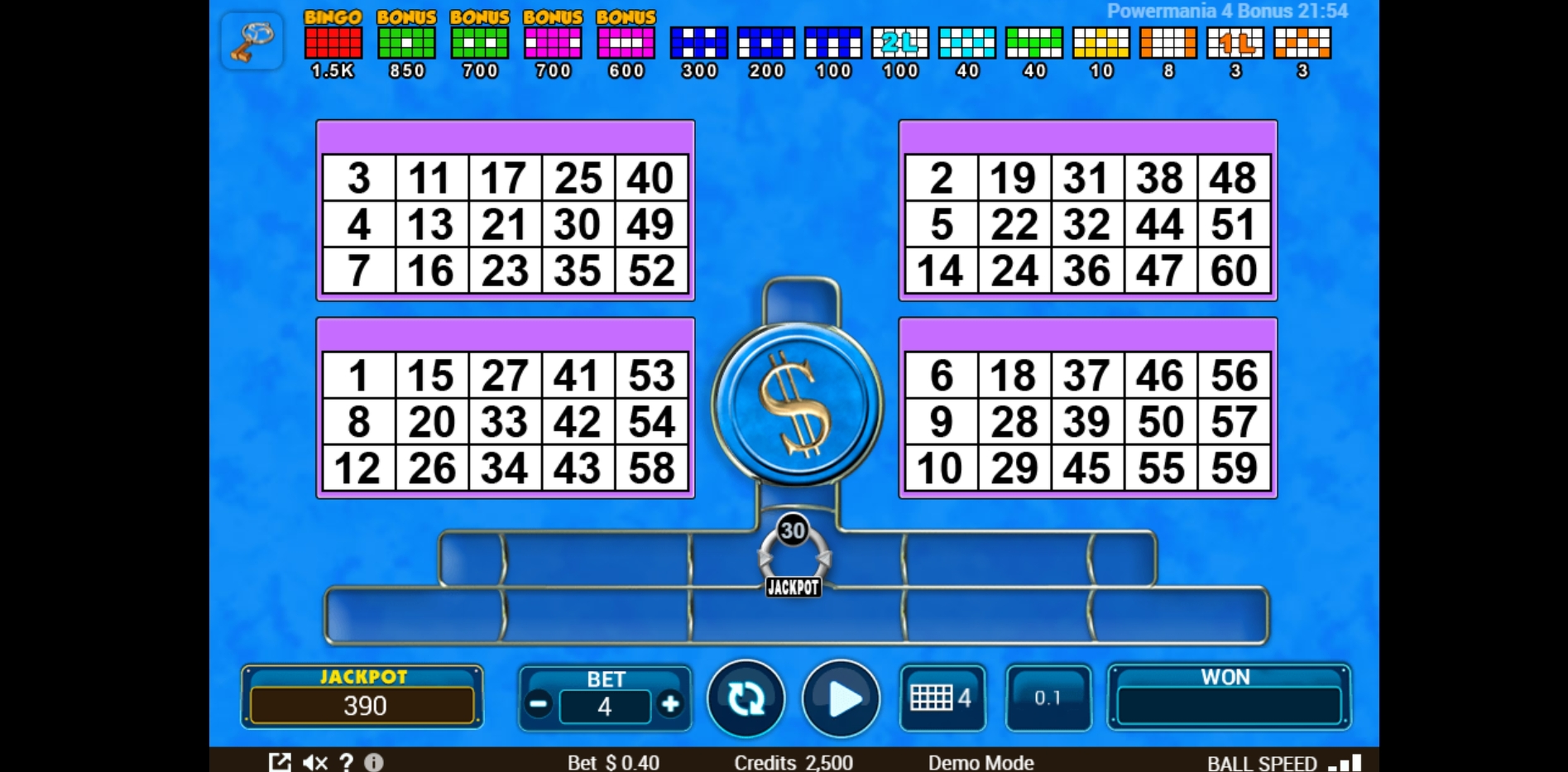 Reels in Power 4 Bonus Slot Game by Zitro